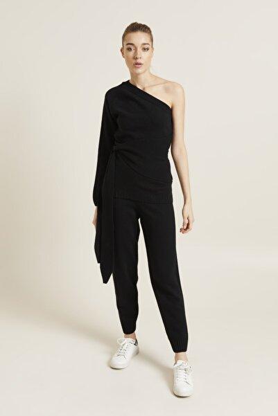 adL Kadın Siyah Yün Karışımlı Paçası Ribanalı Triko Pantolon