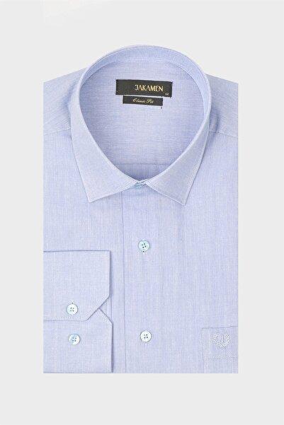 Jakamen Mavi Tek Cepli Klasik Desenli Gömlek