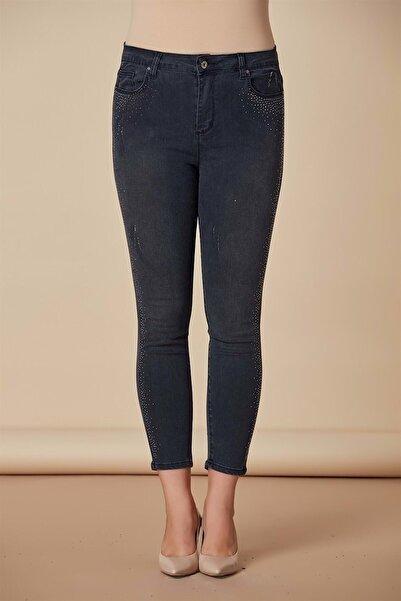 RMG Yanları Taş Işlemeli Büyük Beden Kot Pantolon Füme