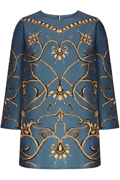 Faberlic Mavi Ampir Desenli Bluz 36 Beden