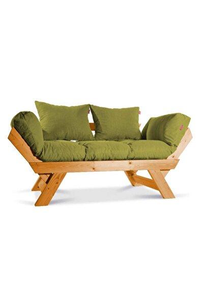 Dekoro Kombin Wood Ahşap Iki Kişilik Kanepe, Bahçe Kanepesi, Yataklı Kanepe (Gürgen/yeşil)