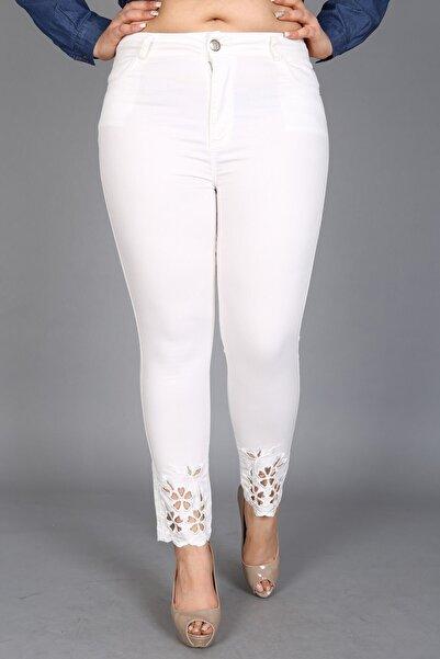 RMG Lazer Kesim Pamuk Pantolon - Beyaz