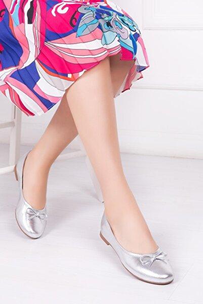 Deripabuc Hakiki Deri Gümüş Kadın Deri Babet Pcc-0001