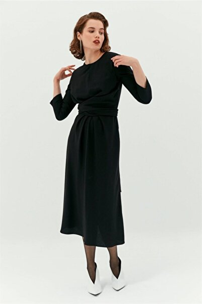 rue. Siyah Midi Drape Elbise