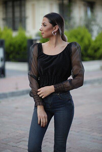 ZİNDİ Kadın Simli Balon Kol Tüllü Bluz Siyah