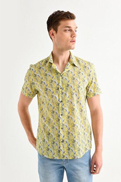 Avva Erkek Sarı Baskılı Apaş Yaka Slim Fit Kısa Kol Gömlek A01y2049