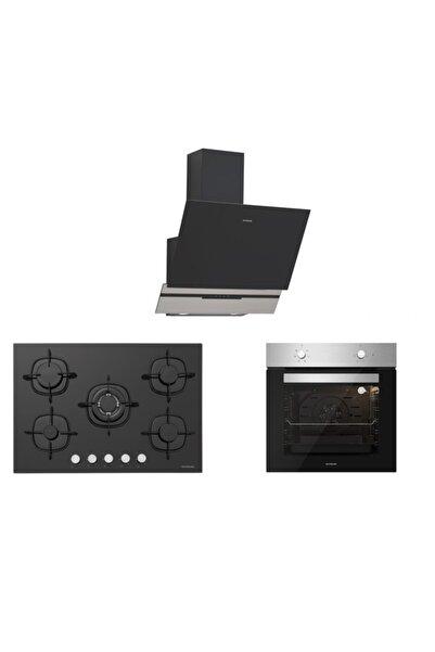 Silverline Inox Siyah Ankastre Set 5 Yıl Garanti (3450 Slımlıne 60+cs5365b01+bo6501x01)