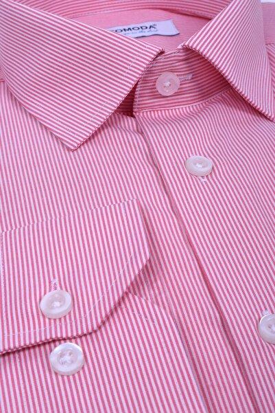 Ottomoda Beyaz Kırmızı Çizgili Uzun Kollu Cepli Erkek Klasik Gömlek