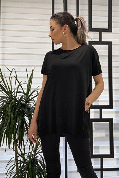ZİNDİ Kadın Bisiklet Yaka Yanları Yırtmaçlı Basic T-shirt Siyah