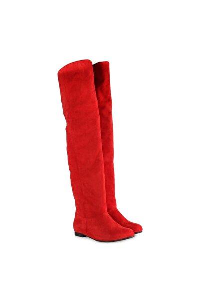 37Numara Kadın Büyük Numara Kadın Çizme Kırmızı Süet 41-42-43-44