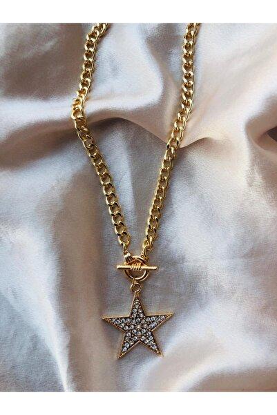 Accessorize Kadın Paslanmaz Çelik Zirkon Taşlı Gold Yıldız Kolye