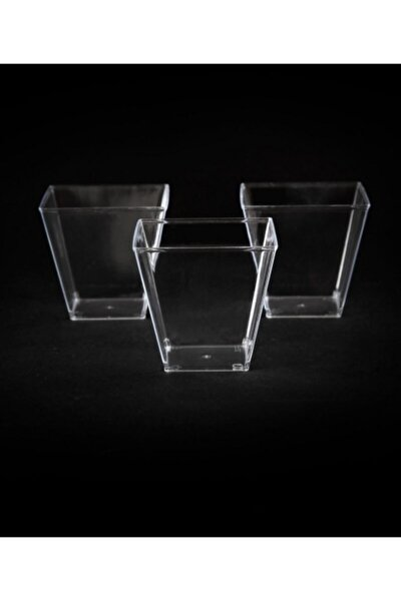Kristal Plastik Prizma Kübik Kase 60cc 24 Adet - Kapaksız