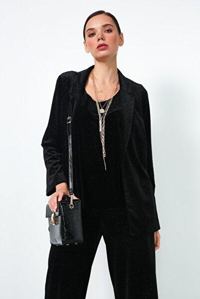 Gusto Simli Kadife Ceket - Siyah