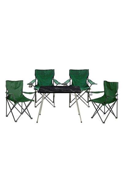 Byeren Byeren Kamp Seti- 4* Kamp Sandalye Yeşil- 45*60 Piknik Sehpa Siyah
