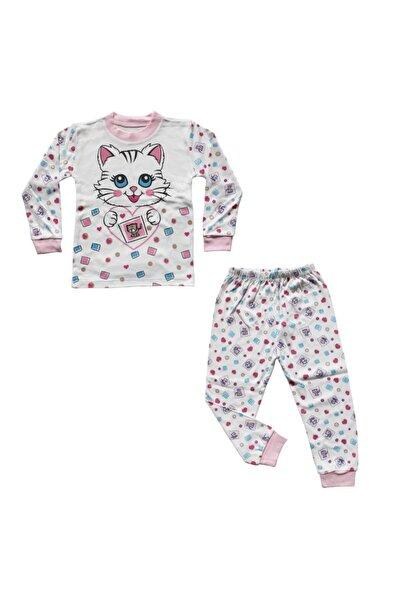 bebegen Kalpli Kedi Baskılı Pembe Biyeli Pijama Takımı