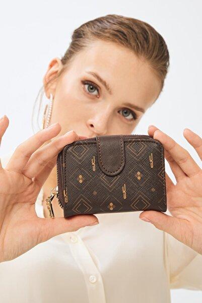Deri Company Kadın Basic Mini Cüzdan Monogram Desenli Kahverengi Taba (8025k) 213017