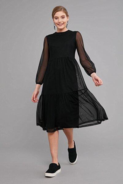 Journey Elbise Sıfır Yaka- Etek Altı Katlı Büzgülü, Uzun Kol Tül Uzun
