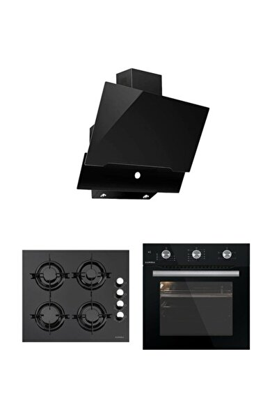 Luxell Yeni Seri Kristal (Plus) Siyah Ankastre Üçlü Set