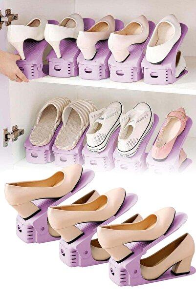 Binbirreyon Ayakkabı Düzenleme Aparatı Ayakkabı Rampası Mürdüm 3 Adetli Set Dc023