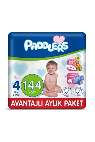 Paddlers Bebek Bezi 4 Numara Maxi 144 Adet (8-19 Kg) Aylık Paket