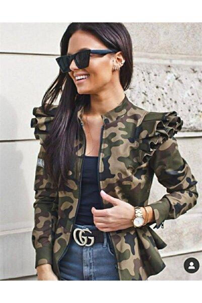 Modayakamoz ?Kadın Kahverengi Kamuflaj Desen Fırfır Detaylı Ceket