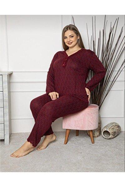 Sude Kadın Bordo Büyük Beden Pijama Takımı