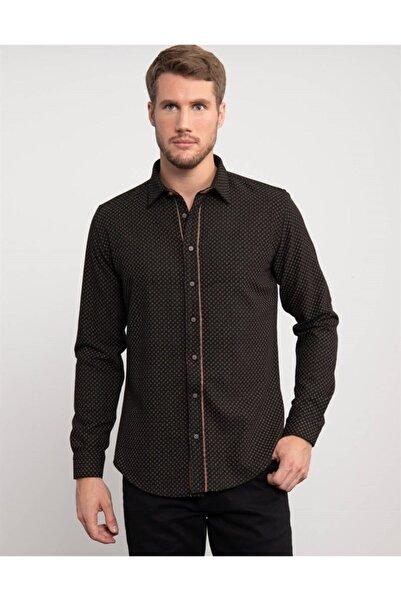 Tudors Slim Fit Baskılı Kışlık Erkek Gömlek