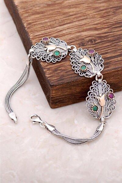 Sümer Telkari Kadın Laleli Telkari İşlemeli Gümüş Bileklik 2939