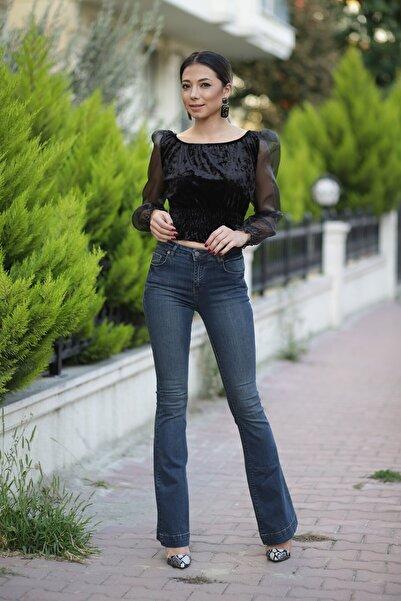 ZİNDİ Kadın Kolları Tüllü Kadife Bluz Siyah