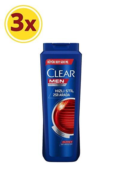 Clear Men Hızlı Stil 2si1 Arada Şampuan 600ml X3