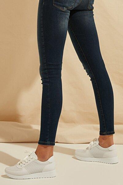 ZİNDİ Kadın Desenli Sneaker Ayakkabı Beyaz