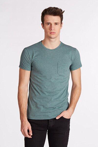 BARRELS AND OIL Erkek Yeşil  Basic Tek Cepli T-Shirt