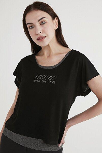 Penti Kadın Siyah Positive Double Tişört