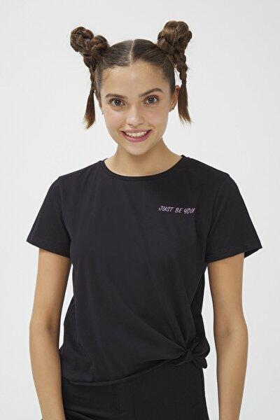 Penti Siyah Bu4u Knotted Tişört
