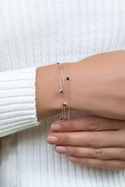 Sümer Telkari Kadın Rose Gümüş Sıra Taşlı Tasarım Bileklik 2391
