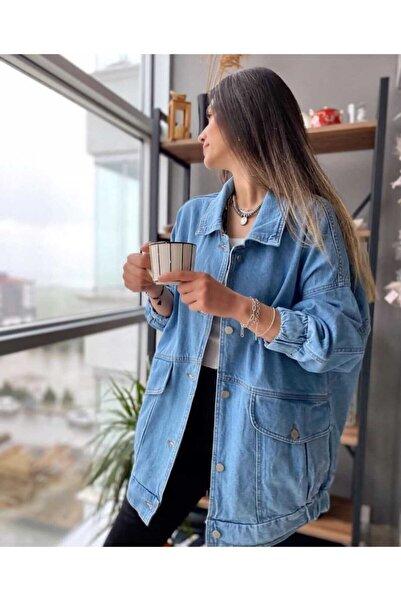 ozzıy34 Kadın Mavi Kot Ceket