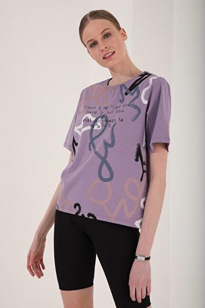 Tommy Life Kadın Eflatun Karışık Desenli Yazı Baskılı Oversize O Yaka T-shirt - 97132