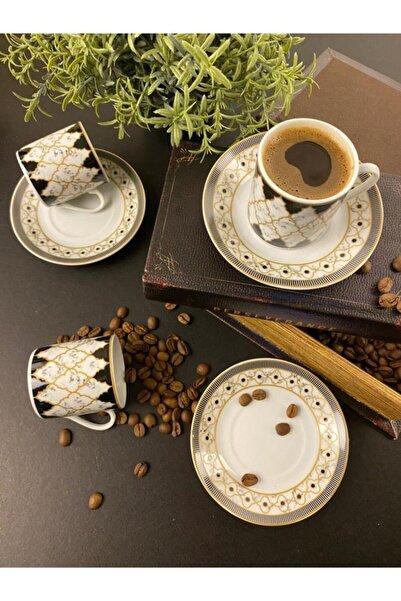 Sembol Yonca Desen 6'lı Porselen Kahve Fincan Seti Coffea-500