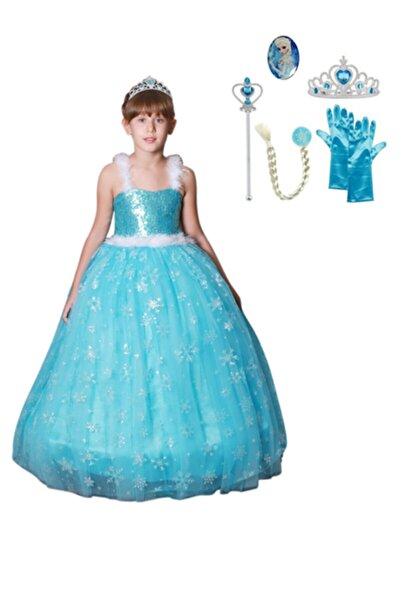 BUTİKHAPPYKİDS Kız Çocuk Mavi Elsa Kostümü Askılı Abiye Kasnaklı Kız Çocuk Elbise