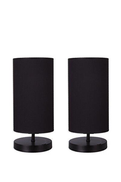 Abajur Dünyası 2 Adet Liza Modern Tasarım Siyah Ayaklı Siyah Kumaşlı Abajur