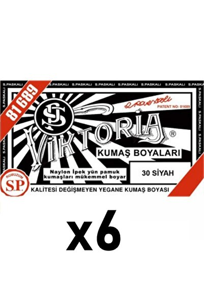 Viktoria 30 - Siyah Toz Kumaş Boyası 6 Adet