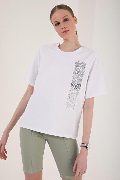 Tommy Life Kadın Deforme Yazı Baskılı Oversize O Yaka T-shirt - 97134