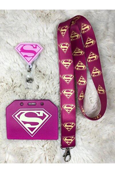 Hediyebum Süpergirl Boyun Askısı Yoyo Ve Yan Kartlık Set