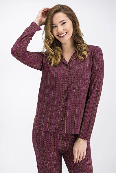 Arnetta Kadın Bordo Ethnic Gömlek Pijama Takımı