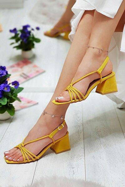 Metin Taka Luna Sarı Topuklu Kadın Ayakkabısı