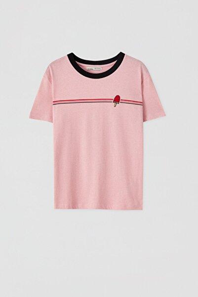 Pull & Bear Kadın Gökkuşağı Görselli Fitilli T-Shirt 05236383