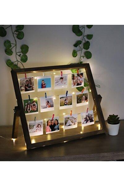 Webotto Masaüstü 12 Fotoğraflı Işıklı Ipli Mandallı Fotoğraf Çerçevesi Ceviz