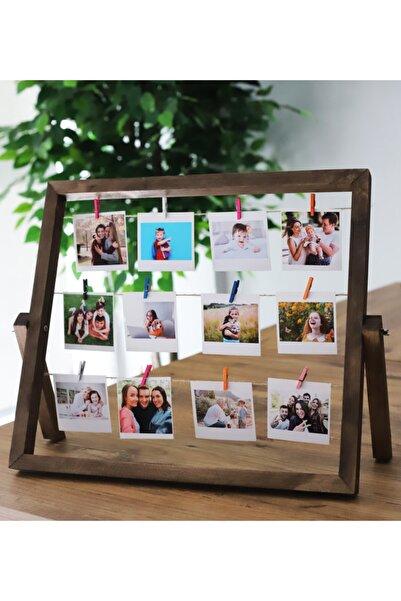 Webotto Masaüstü 12 Fotoğraflı Ipli Mandallı Fotoğraf Çerçevesi Ceviz