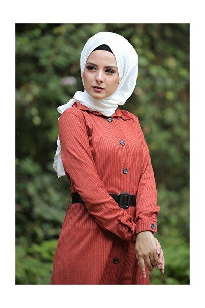Tesettür Dünyası Kadın Volanlı Kadife Elbise TSD1847 Kiremit TSD1847