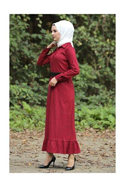 Tesettür Dünyası Volanlı Kadife Elbise Tsd1847 Kırmızı